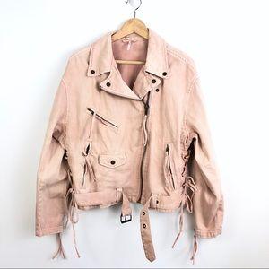 Free People Pink Oversize Denim Moto Jacket